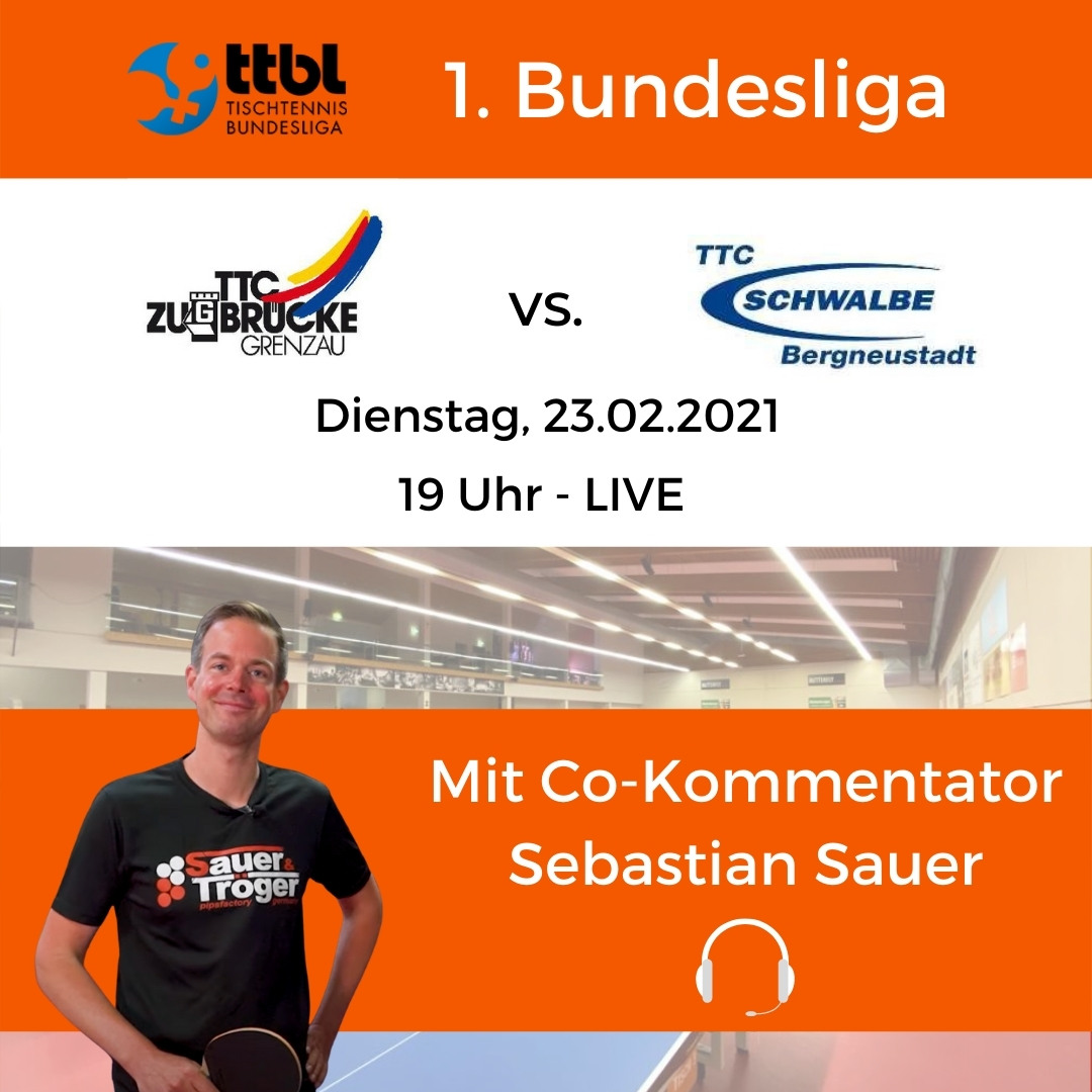 Sebastian Sauer as guest in the 1st table tennis Bundeliga